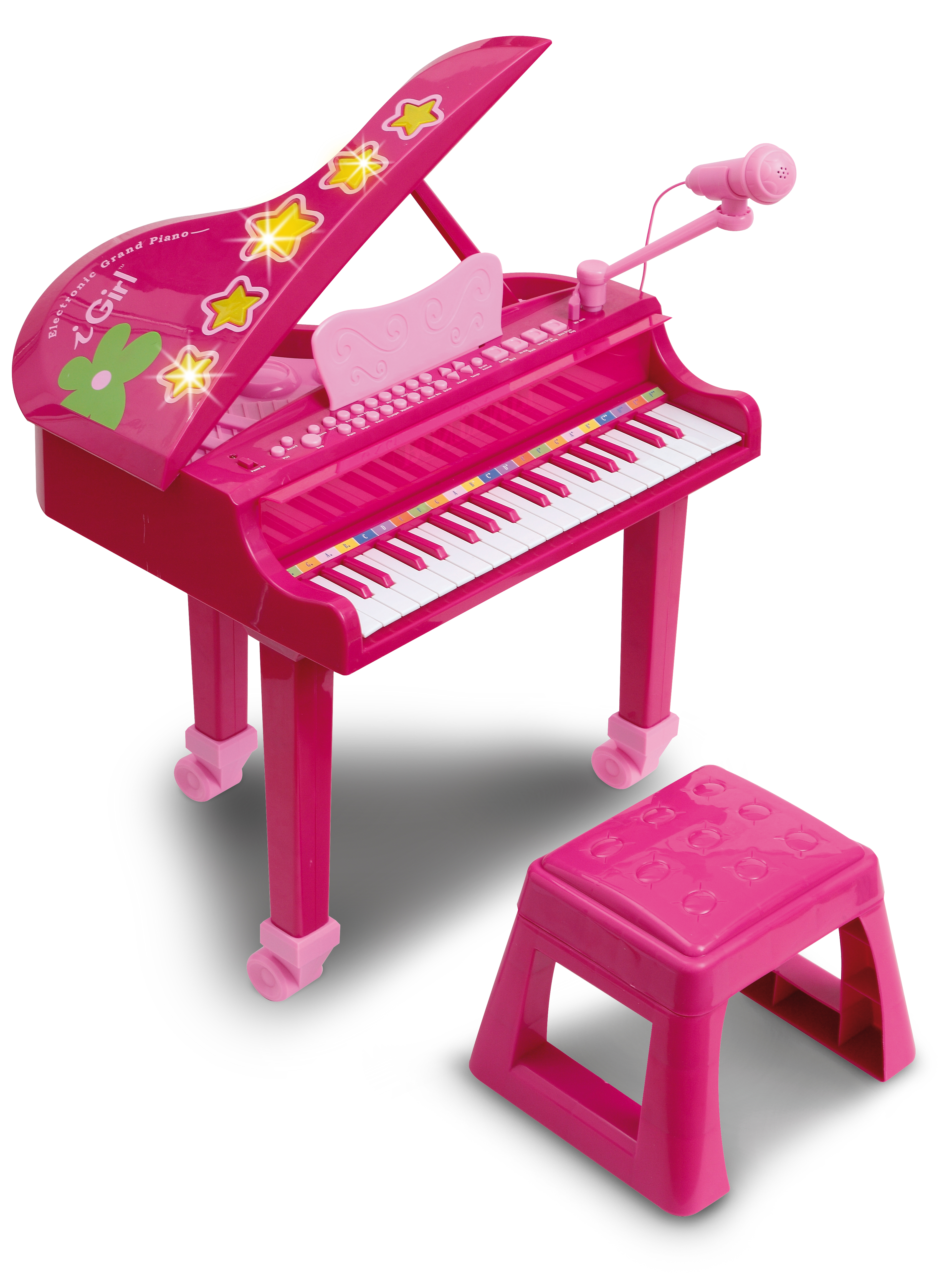 Pian electronic I GIRL cu microfon si scaun