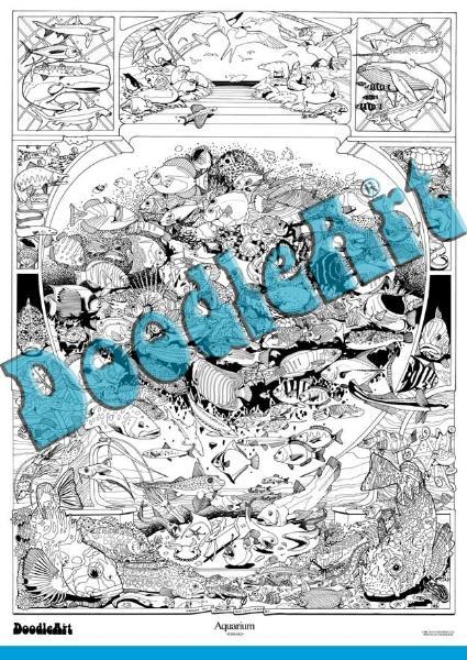 Set Postere De Colorat + 12 Markere Duble Acvariu