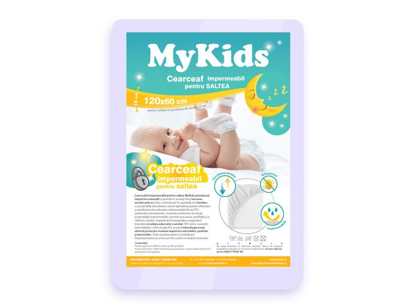 Protectie Impermeabila Cearceaf Mykids Pentru Saltea 120x60 Lime