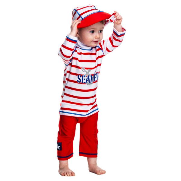 Costum De Baie Sealife Red Marime 98- 104 Protectie Uv Swimpy