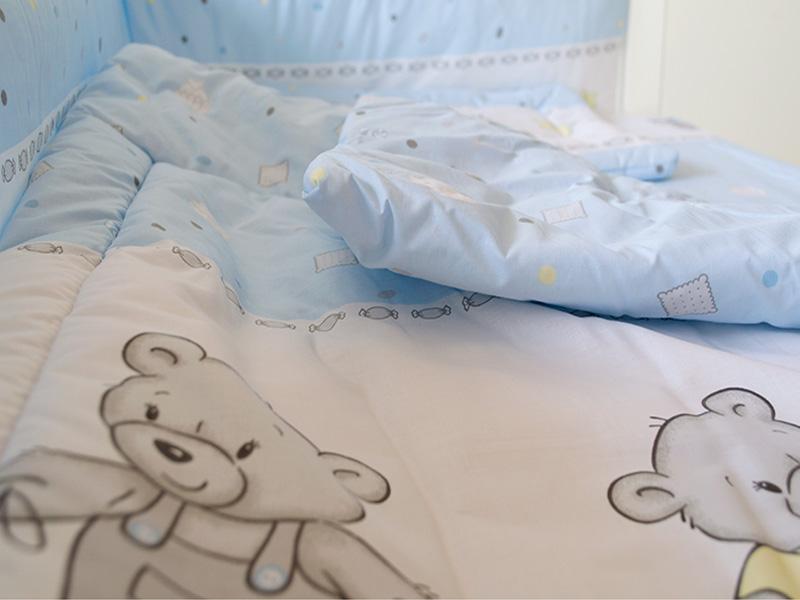 Lenjerie Mykids Teddy Toys Blue 4 Piese 140x70