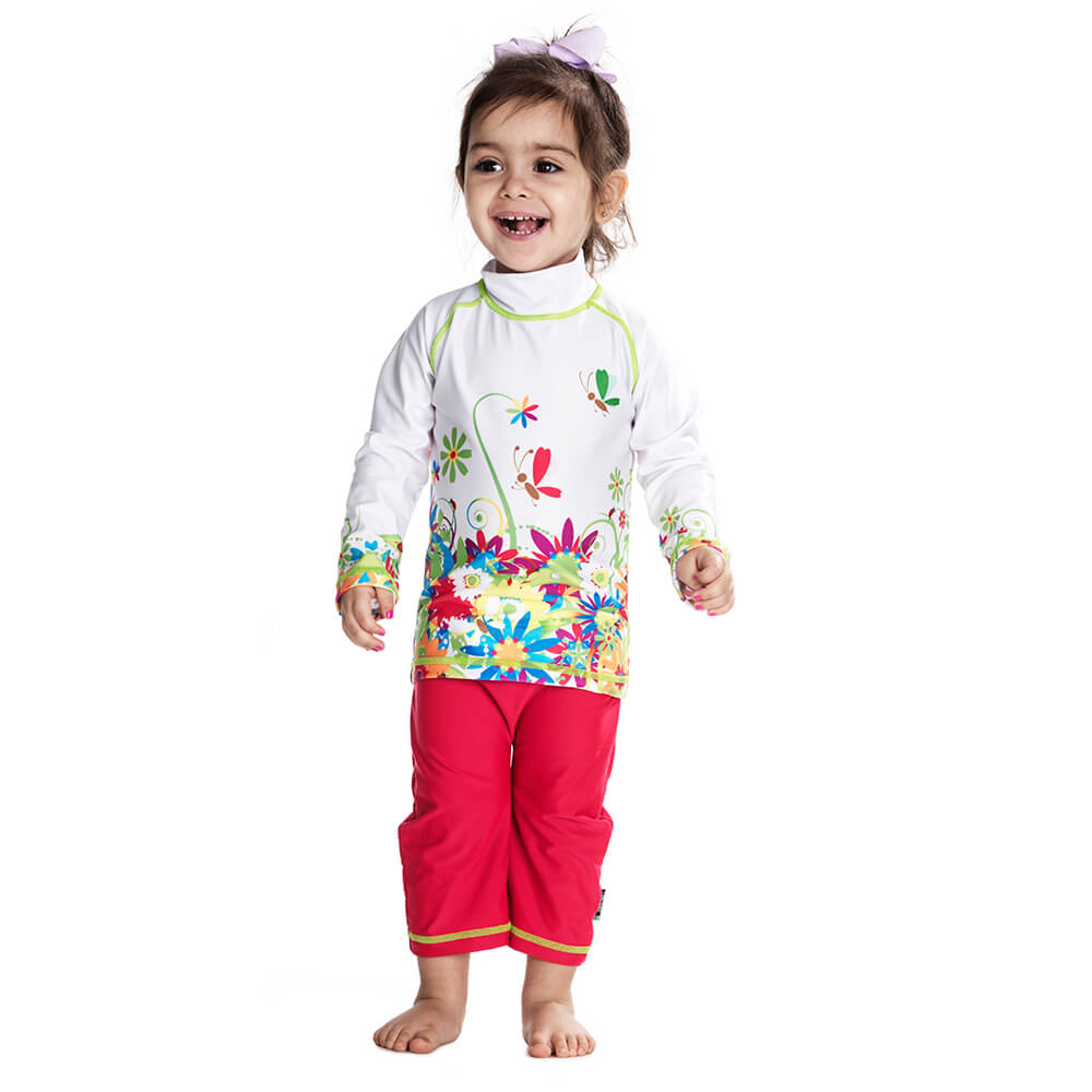 Costum De Baie Flowers Marime 98- 104 Protectie Uv Swimpy