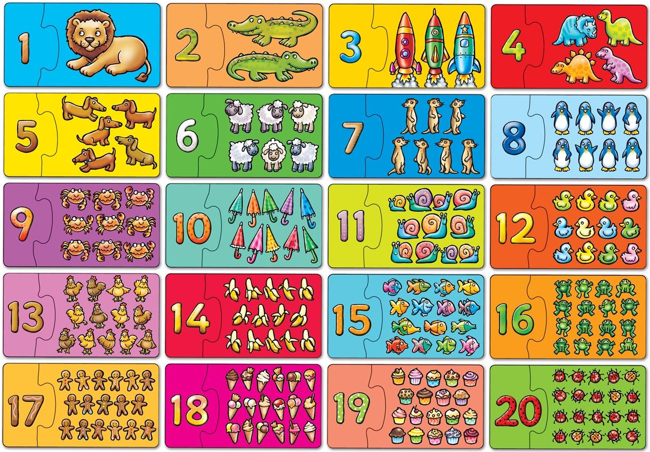 Puzzle Potriveste Si Numara De La 1 La 20  Match And Count