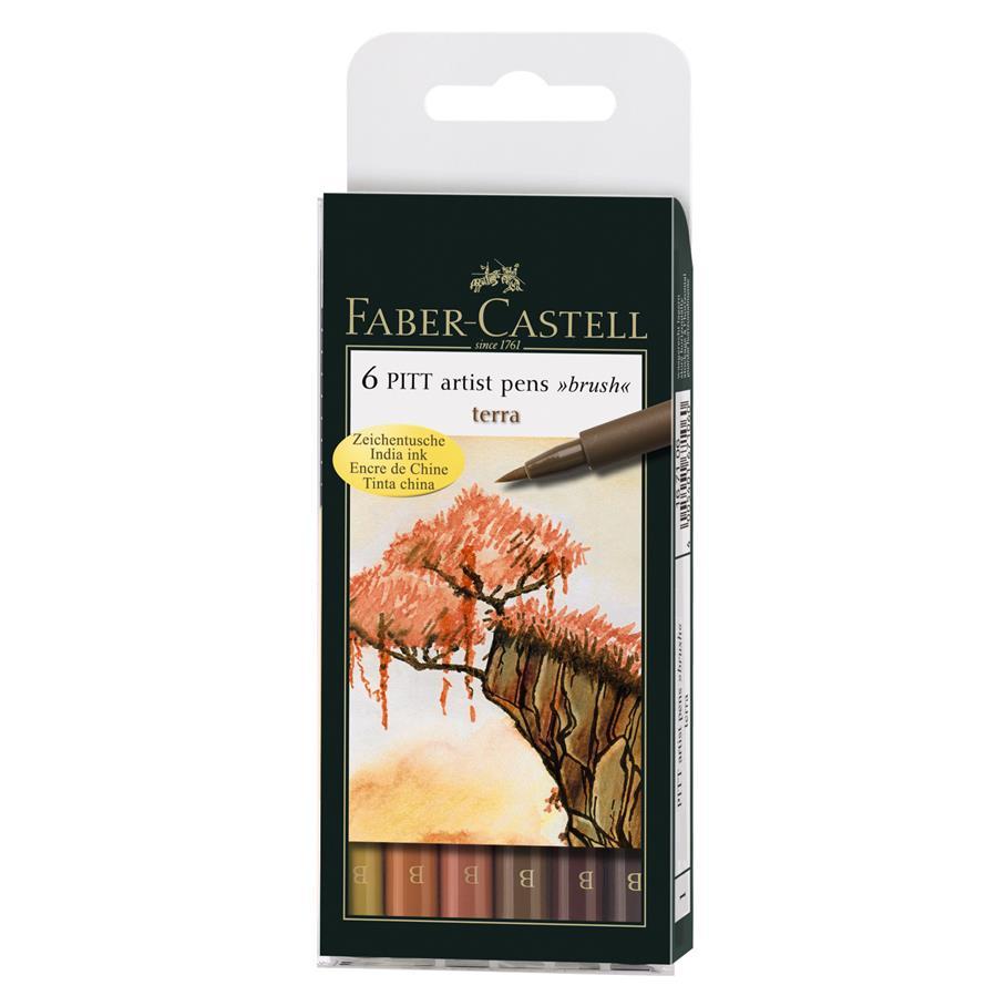 Pitt Artist Pen Set Faber-castell 6 Buc, Nuante Pamantii