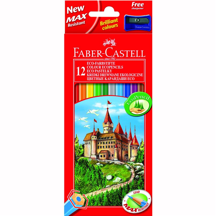 Creioane Colorate Eco Faber-castell 48 Culori / Cutie Carton + Ascutitoare