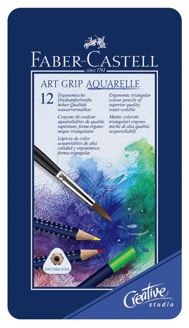 Creioane Colorate Aquarelle Art Grip 12 Culori Cutie Metal Faber-castell