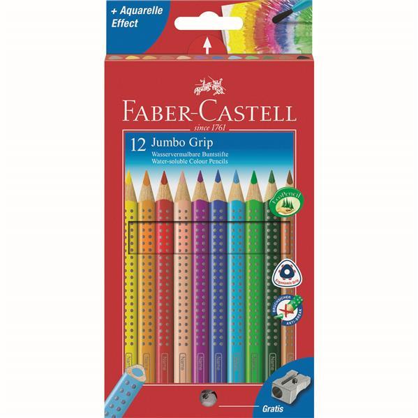 Creioane Colorate Jumbo Grip Faber-castell 12 Culori Si Ascutitoare
