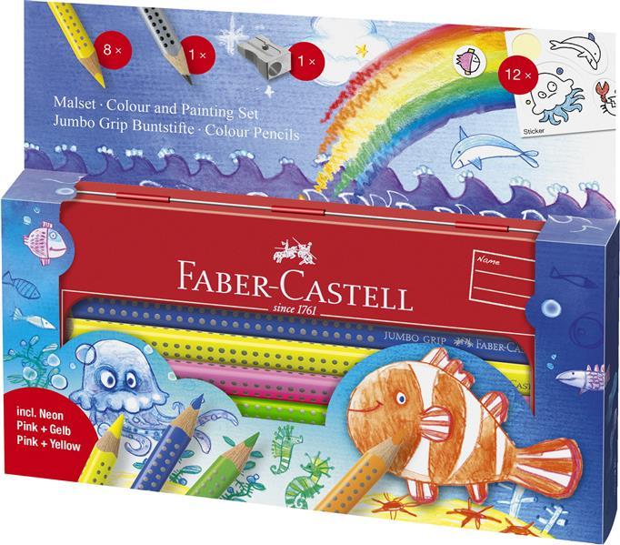 Set Cadou 8 Culori Si Accesorii Jumbo Grip Ocean Faber-castell imagine