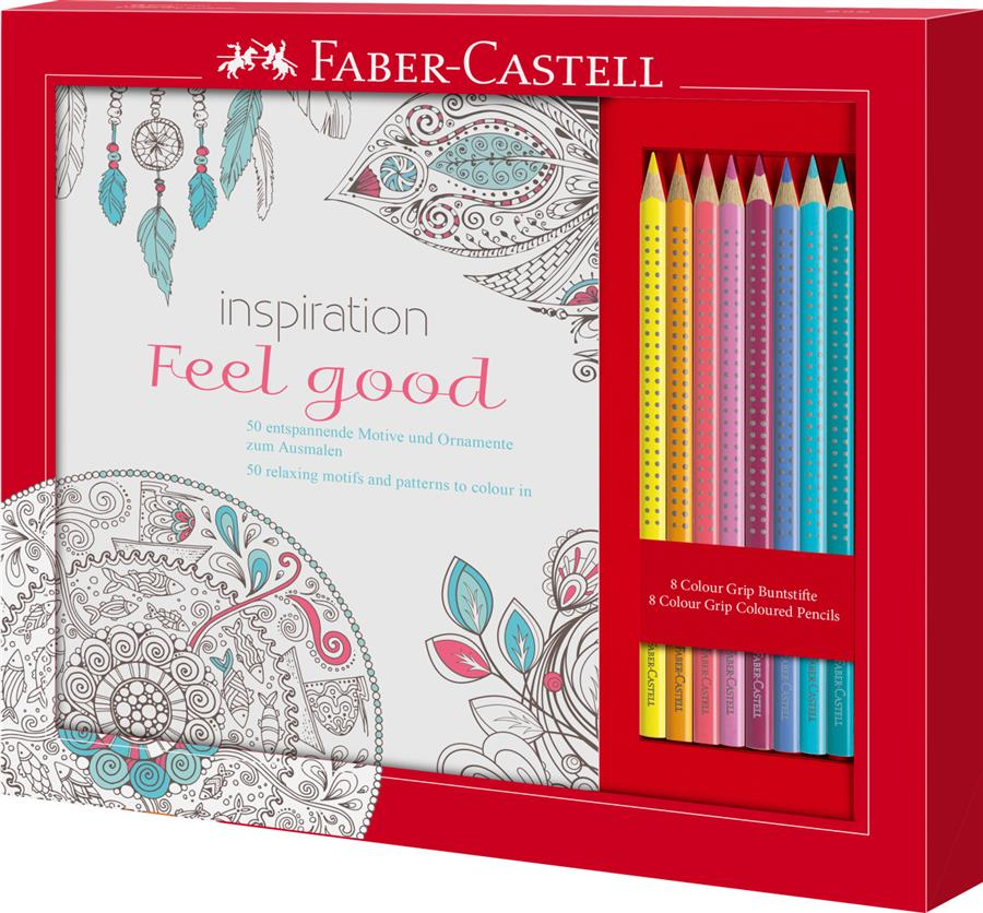 Set Cadou Feel Good 8 Creioane Colorate Grip + Carte Colorat Faber-castell