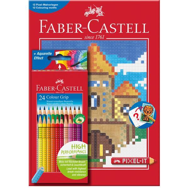 Set 24 Creioane Colorate Grip Si Carte Colorat Pixel Faber-castell