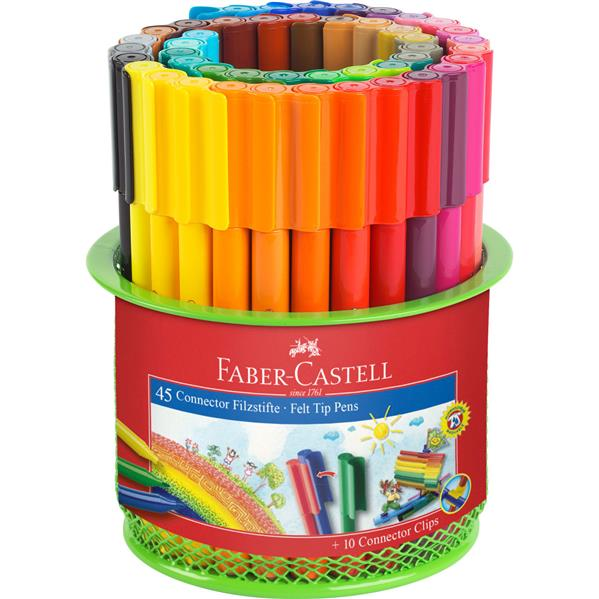 Carioca 45 Culori Connector In Suport Mesh Faber-castell imagine