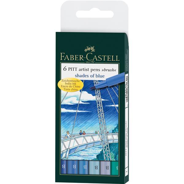 Pitt Artist Pen Set 6 Buc Albastru Faber-castell imagine