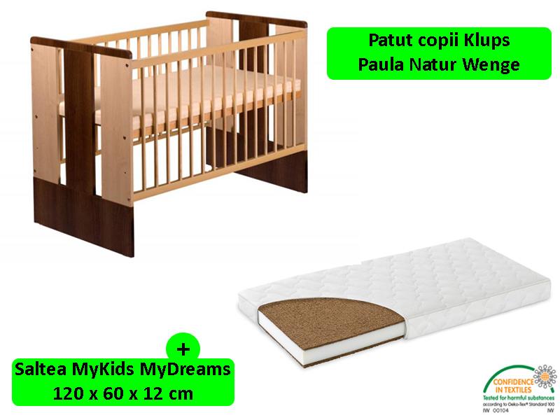 Patut Klups Paula Natur Wenge + Saltea 12 MyKids MyDreams