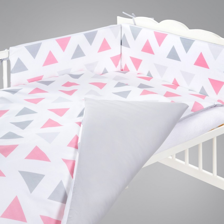 Klups set lenjerie 5 piese Triunghiuri pink/grey