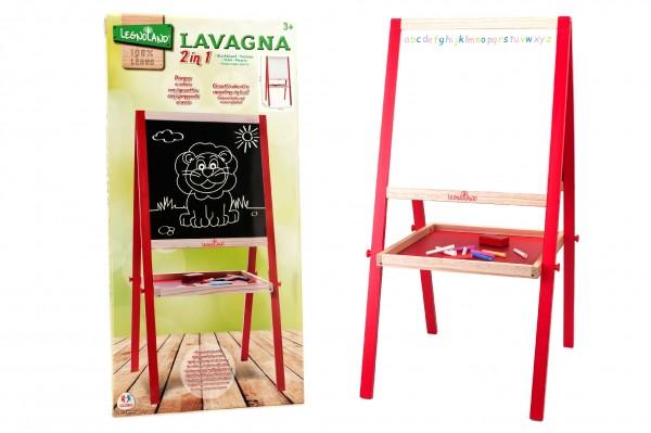 Set tablita lemn Globo Legnoland 35479 2 in 1 scris cu creta si marker reglabila pe inaltime