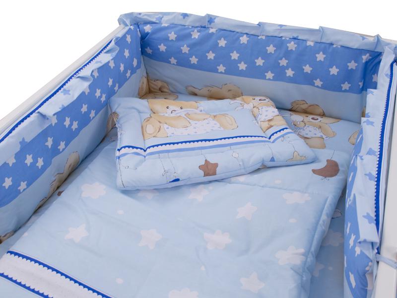 Lenjerie MyKids Teddy Hug Blue 4 Piese 120x60