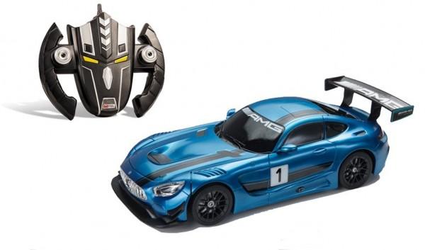 Masinuta cu telecomanda 2 in 1 transformabila in robot Mercedes AMG GT3 Albastru Mondo 634203 cu acumulator inclus scara 1:14