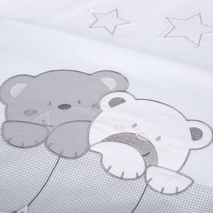 Klups set lenjerie brodata 3 piese Star Dream alb-grey