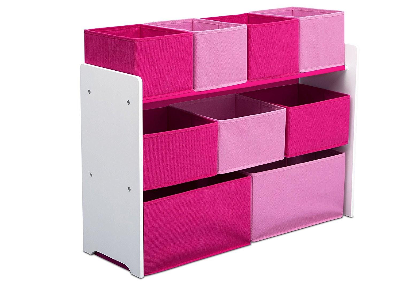 Organizator jucarii cu cadru din lemn Deluxe White Pink imagine
