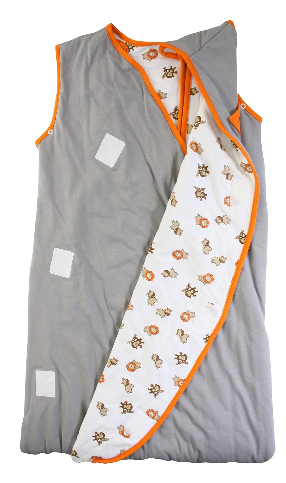 Sac de dormit multifunctional Grey Orange Zoo Animal Travel 0-6 luni 2.5 Tog