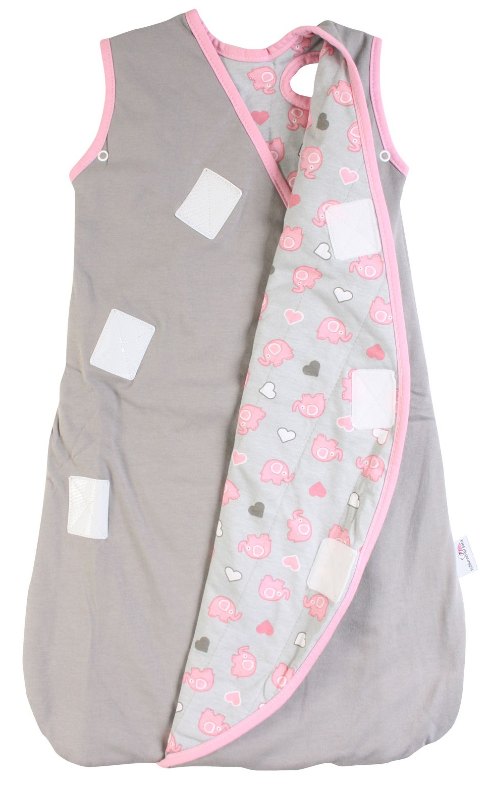 Sac de dormit multifunctional Grey Pink Elephant Travel 6-18 luni 2.5 Tog