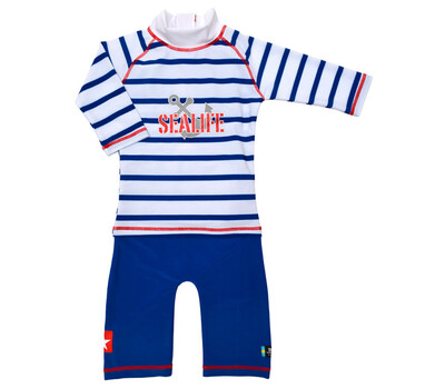 Costum De Baie Sealife Blue Marime 98- 104 Protectie Uv Swimpy